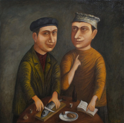 Igor Gorban. Sharing the Catch, oil on canvas