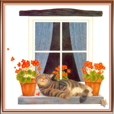 Джон Мартинес. Кот и цветы