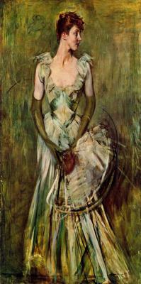 Giovanni Boldini. Girl with a fan. Portrait of Comtesse de Leous
