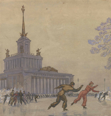 Николай Иванович Пискарев. Каток на ВДНХ_бумага, акварель_1950-е годы