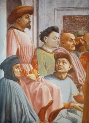 Tommaso Masaccio. The resurrection of the son of Theophilus. Fragment (Duke Can Galeazzo Visconti and Chancellor Coluccio Salutati)