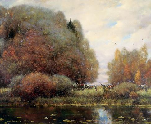 Alexander Victorovich Shevelyov. Rain, cows, a pond. Oil on canvas 86 # 98.2 cm 1999
