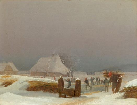 Вильгельм Бендз. Зимний пейзаж из Фюна