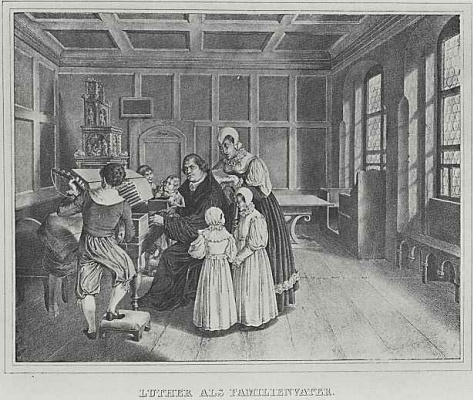 """Adolf Friedrich Erdmann von Menzel. Illustrations for the book """"Life of Luther"""", Luther - the father of the family"""