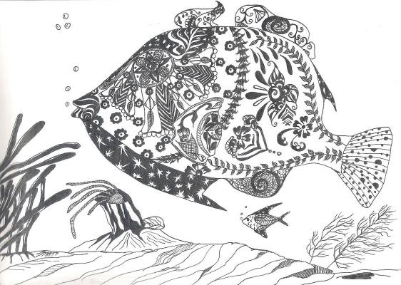 "Николай Николаевич Оларь. Series of stylized drawings: ""Underwater fantasy"" (16)"