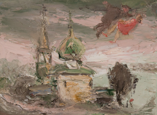 Anatoly Stepanovich Slepyshev. Landscape with a church
