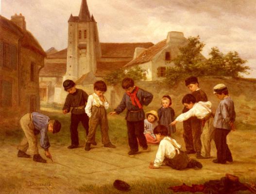 Теофиль-Эммануэль Дюверже. Дети играют во дворе