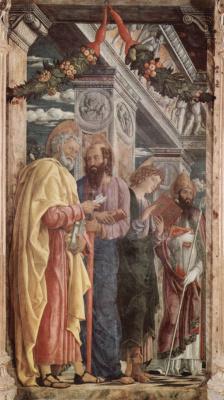 Андреа Мантенья. Алтарь церкви Сан Дзено в Вероне, триптих, левая доска. Апостолы Петр и Павел, евангелист Иоанн, св. Зенон