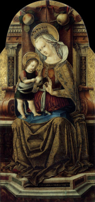 Carlo Crivelli. Madonna with child on the throne