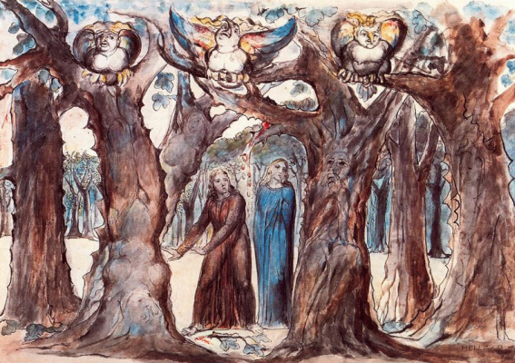 "William Blake. Harpies in the forest of suicides. Illustrations for ""the divine Comedy"""