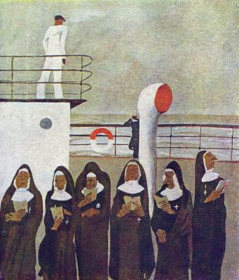 Alexander Alexandrovich Deineka. Six nuns. Illustration for the poem