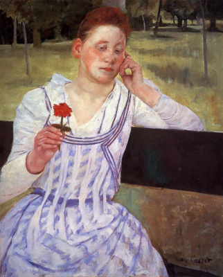 Mary Cassatt. Woman with red chrysanthemum