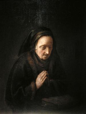 Геррит (Герард) Доу. Пожилая женщина в молитве (Мать Рембрандта)