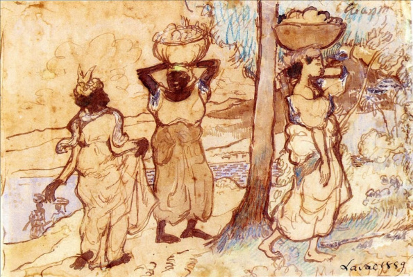 Charles Laval. Two Women Carrying Baskets on Martinique