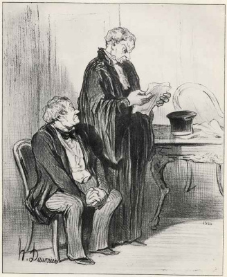 """Honore Daumier. """"- """"Your process is in full swing.""""; """"I can barely keep up behind him."""""""""""