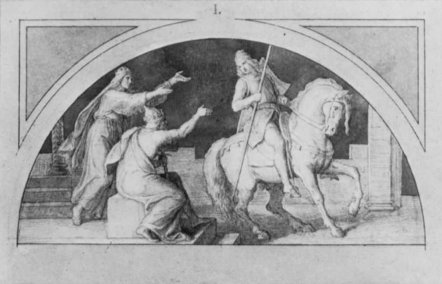 """Julius Schnorr von Karolsfeld. Sketch for the fresco cycle """"the Nibelung"""" for the Royal residence castle in Munich: Departure of Siegfried"""
