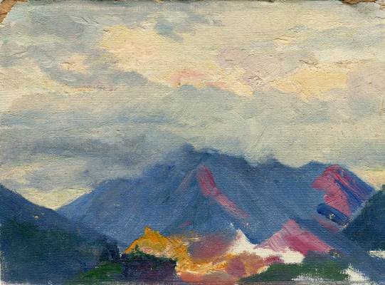 "Vasily Fadeevich Demin. Study ""Mountains in the Clouds"""