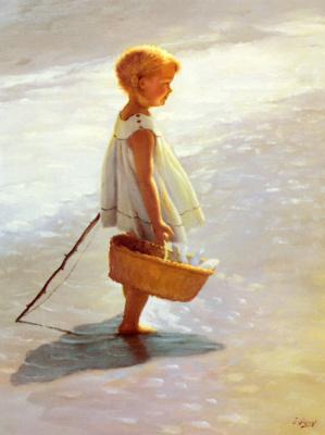 Артур Джон Элсли. Маленькая девочка на пляже