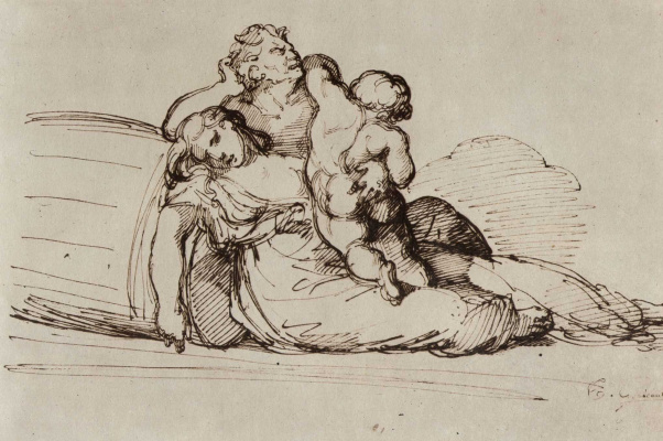 """Théodore Géricault. Study for the painting """"The Raft of Medusa"""", a family group"""