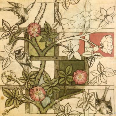 Уильям Моррис. Birds on the garden lattice. Sketch