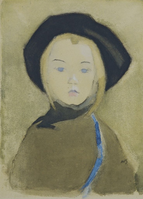 Helena Sophia Scherfbek. Girl with a blue ribbon