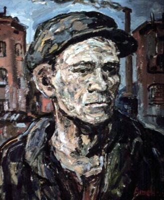 Альбин Амелин. Портрет мужчины в кепке
