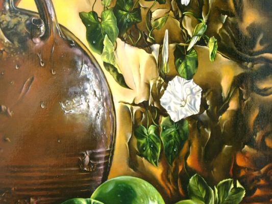 Виктор Цветков. Натюрморт с кувшином и яблоками.