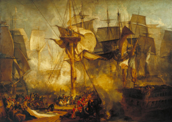 """Joseph Mallord William Turner. The battle of Trafalgar, the kind with the cable for the mizzen mast on the starboard side of the ship """"victory"""""""