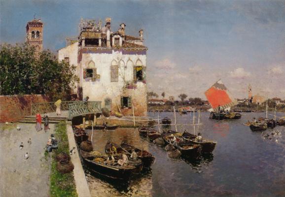 Мартин Рико Ортега. Венецианские рыбаки с удаленным видом На Сан-Марко Венеция