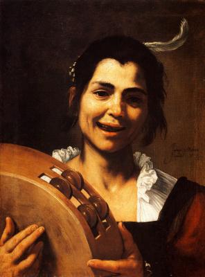 Jose de Ribera. Girl with a tambourine
