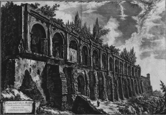 Giovanni Battista Piranesi. The view from the ruins of the Villa of Maecenas at Tivoli