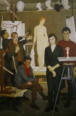 """Students. In the sculpture Studio"". 1964"