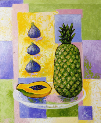 Svetlana Konstantinova. A pineapple. papaya fig