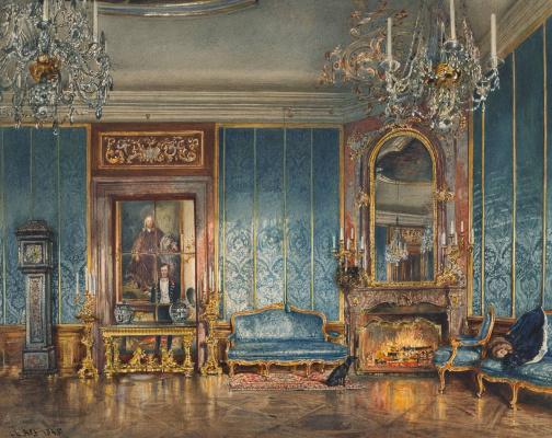 Rudolf Ritter von Alt. Der Blaue Salon in Schloss Feldsberg