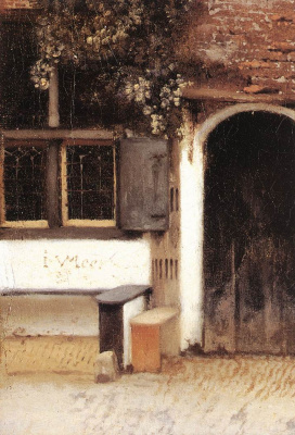 Jan Vermeer. Little street in Delft. Fragment
