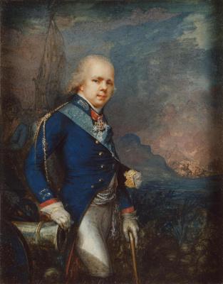 Vladimir Lukich Borovikovsky. Portrait of Grand Prince Constantine Pavlovich against the background of the battle of Novi