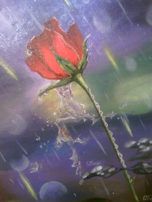 Olga Pavlovna Georgieva. Rose in the rain