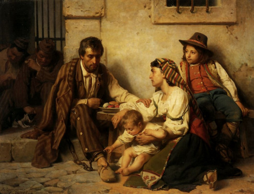 Василий Петрович Верещагин. Свидание заключенного со своим семейством
