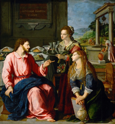 Alessandro Allori. Christ in the house of Martha and Mary