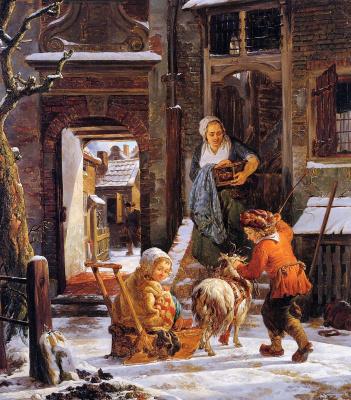 Абрахам ван Стрий. Зимний вид на город с детьми