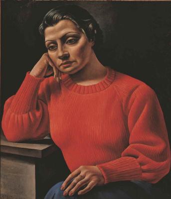Antonio Berni. The woman in the red sweater