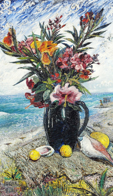 David Davidovich Burliuk. Still life with flowers on a sea background
