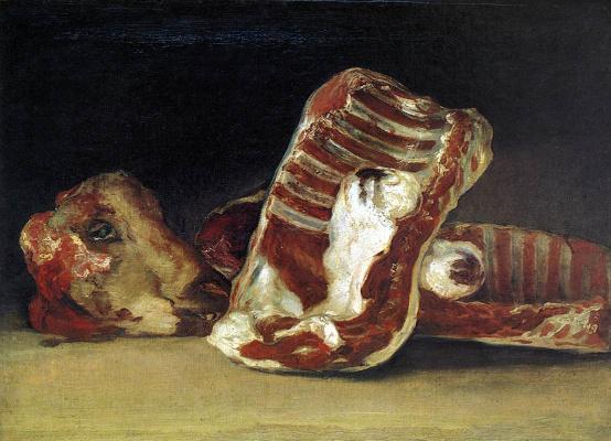 Франсиско Гойя. Натюрморт с рёбрами и головой ягнёнка - прилавок мясника