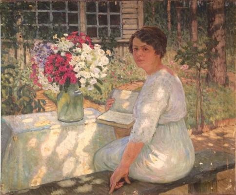Борис Васильевич Смирнов. Портрет девушки в летнем саду