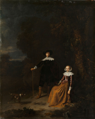 Gerrit (Gerard) Dow. Portrait of couple in a landscape