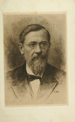 Vasily Vasilyevich Mate. Portrait of the historian V. O. Klyuchevsky. 1900's Etching. 27 x 17