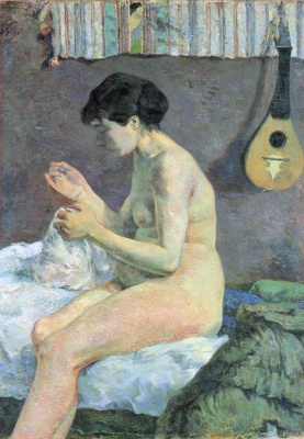 Paul Gauguin. Suzanne sewing. Sketch Nude