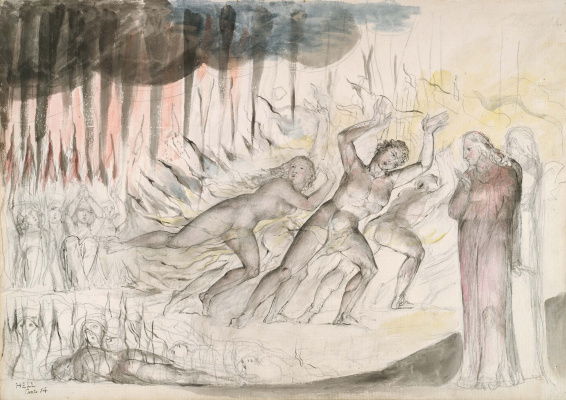 """William Blake. Blasphemers, usurers and sodomites. Illustrations for """"the divine Comedy"""""""