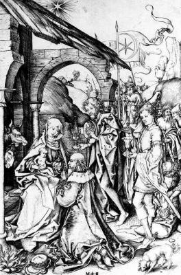 Martin Schongauer. The adoration of the Magi