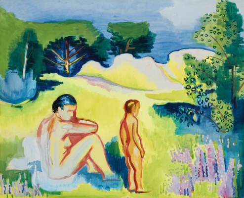 Max Pehshtein. Landscape with bathers